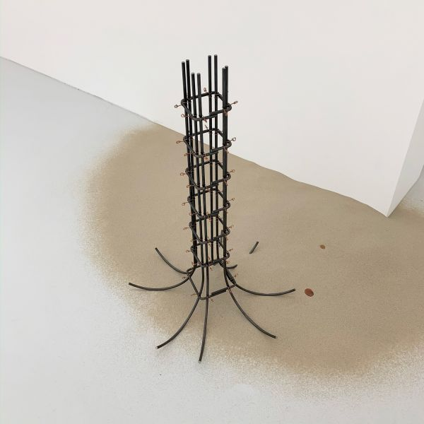 Theresa Lawrenz, Lost & Looking, 2020, concrete, steel, sand, copper wire, coins, 86,5x60cm